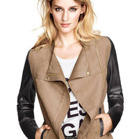 Color Block Jacket With Asymmetric Zip