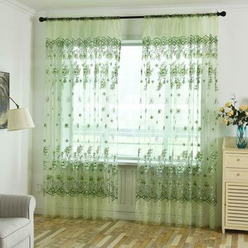 Window Curtains Sheer Voile Tulle Printed Tulip Pattern Sun-shading Curtains For The Living Room