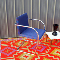 70s GLAM CHROME CHAIR Vintage Cantilever Bent Metal Tubular / Geometric Blue / Side, Dining, Office, Desk Arm Chair Retro Furniture Chicago