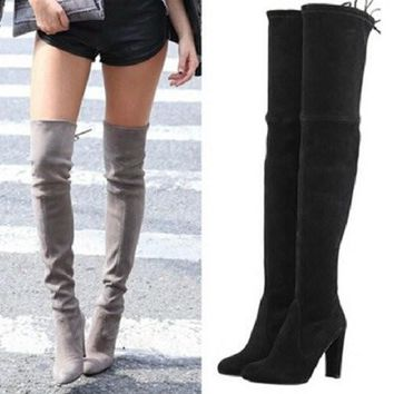Black Faux Suede Slim Thigh High Heels Boots Sexy Over the Knee Boots Women Party Shoe