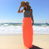 Double Take Maxi Dress In Neon Coral