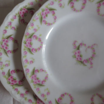 Pair of Vintage Floral China Small Plates.  B&B Plates.  Pink Floral German Plates.  Tea Party. Wall Decor.  Wedding Plates