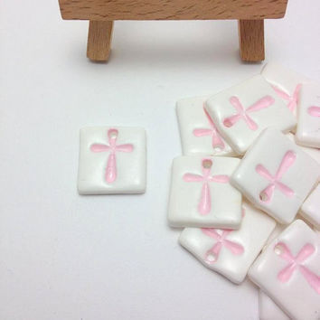 Pink Cross Tiles, Cross, Cross Pendants, Martyrika, Martirika, Baptism Accessories, Baptism Favors, Girls Baby Shower