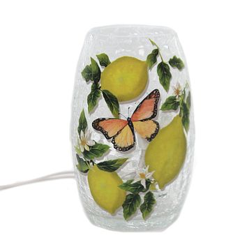 Stony Creek FRESH LEMONS PRE-LIT SMALL VASE Glass Butterfly Summer Sdl9204 A