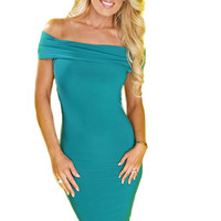 Noelle Off The Shoulder Dress - Emerald