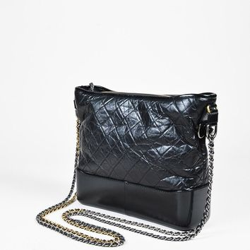 "Chanel NWT $4000 Black Quilted Aged Calfskin Leather ""Large Gabrielle Hobo"" Bag"