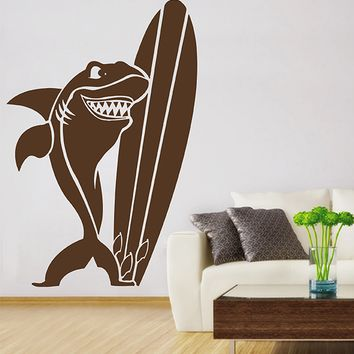 ik2891 Wall Decal Sticker surf board shark funny living room bedroom