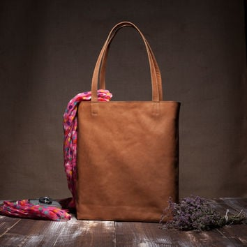 Leather tote bag - brown leather tote - shoulder bag - camel leather - large bag