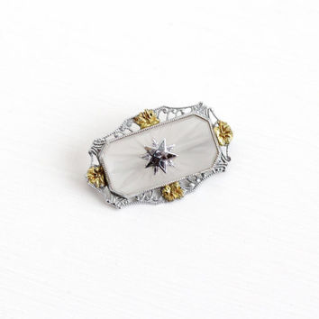 Vintage 14k White & Yellow Gold Order of the Eastern Star Rock Crystal Brooch - Art Deco OES Filigree Camphor Glass Style Fine Jewelry Pin