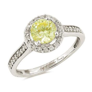 A Perfect 1.5CT Round Cut Halo Canary Yellow Russian Lab Diamond Ring