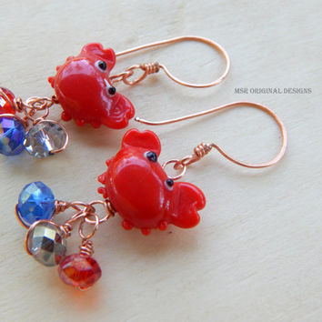 Crab earrings, unique earrings, red crab earrings, whimsical earrings, glass crab, summer earrings, crab jewelry, beach jewelry, crab charm