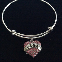 Pink Nana Crystal Heart Silver Charm Bracelet Adjustable Wire Bangle Expandable