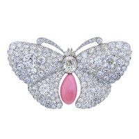 Rare Belle Epoque Conch Pearl Diamond Platinum Butterfly Brooch Circa 1900