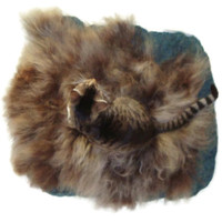 Cat Bed Sheep-friendly Pet Bed Humane Wool Fleece Felted Rug - Navajo Churro Brown Gray - Supporting Small Farms of The United States