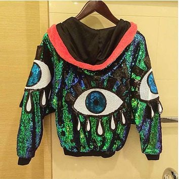 Storage jackets Women Stage Performance Jacket Sequined Big Eyes Sexy Girl jazz Dance Female Costumes Coats