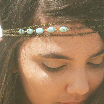 Chain Headpiece Headband 10% off PRE FALL SALE Bohemian Hipster Boho Hippie Bronze Three Strand Turquoise Bridal  Jewelry Single Strand
