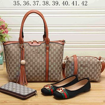 GUCCI 2018 Women's Exquisite Fashionable High Quality Leather Bags & Shoes F-KSPJ-BBDL brown