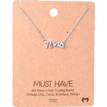 Must Have Necklace-Bling Mrs,  Silver