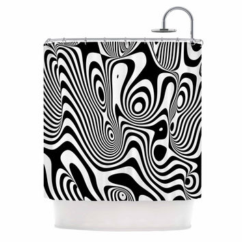 "Danny Ivan ""Trippy"" Black White Shower Curtain"