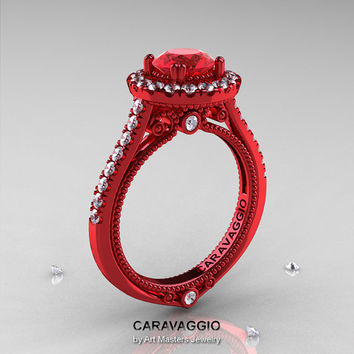 Caravaggio 14K Red Gold 1.0 Ct Ruby Diamond Engagement Ring, Wedding Ring R621-14KRGDR
