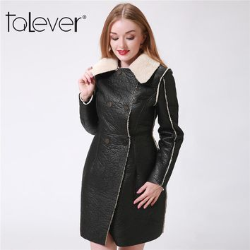 Fashion Women Winter Jacket Black Faux Leather Lamb Wool Warm Long Coat Elegent Plus Size Fur Collar Trench Outwear Talever