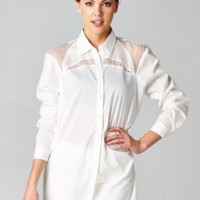 White Meshed Button Down Blouse