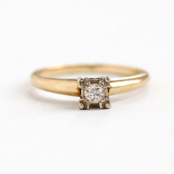 Vintage 14k Yellow & White Gold 1/10 Carat Diamond Ring - 1940s 1950s Mid-Century Size 6 1/4 Two Tone Solitaire Wedding Engagement Jewelry