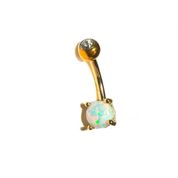 Gold Prong Fire White Opal 14g Belly Button Naval Ring Curved Jewelry Piercing 10mm 316L Surgical Steel