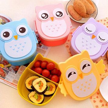 ICIK272 1050ml Cartoon Owl Lunch Box Tableware Food Fruit Storage Container Portable Bento Box Food-safe Food Outdoor Camping Lunch Box