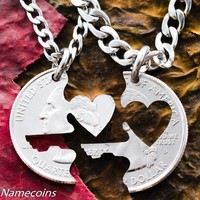 Key to my Heart necklace, Couples Jewelry, Interlocking love quarter, hand cut coin
