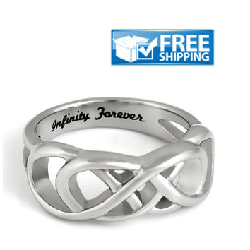 "Unisex Double Infinity Ring - Purity Ring Engraved on Inside with ""Infinity Forever"", Sizes 6 to 9"