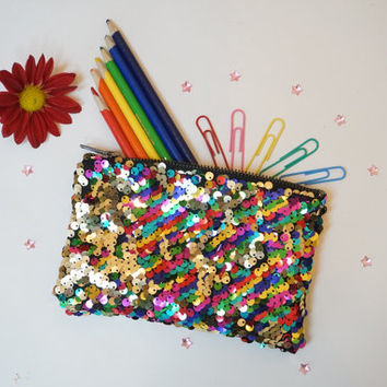 Sparkle mermaid sequin zipper pouch wallet bag, reversible two tone sequin scales black gold rainbow green clutch handbag purse