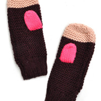 Hint of Neon Knit Mittens
