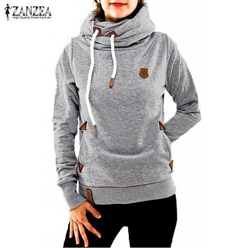 ZANZEA 2017 Women Hoodies Fashion Sweatshirt Long Sleeve Hooded Thick Warm Pullovers Casual Anchor Tracksuits Sudaderas Mujer