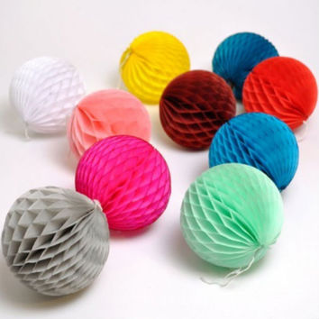 "Free shipping 10pcs/lot  6""(15cm) pastel tissue paper honeycomb ball lantern for wedding decorations 24 colors available"