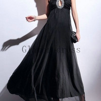 sexy chiffon prom dresses with straps   black and red long evening prom dress   unique elegant gowns for evening