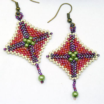 Beaded earrings peyote stitch bead woven dangle earrings, red, purple, green and white, OOAK / handmade