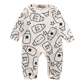 Pudcoco Top Baby Kids Boy Girl Infant Long Sleeve  Romper Milk bottle Jumpsuit Cotton Clothes Outfit Set