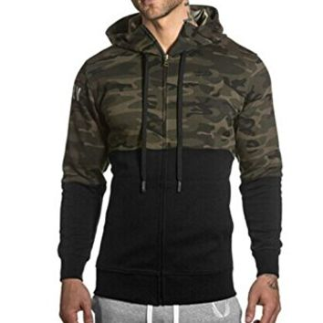 Men Shrug Full-Zip Hooded Sweatshirt Jacket Outwear