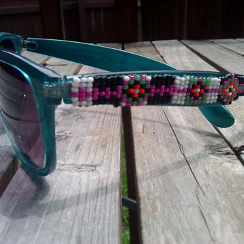 Native American Hand Beaded Pow Wow Sunglasses in Metallic Rose, White, Black, Orange, and Sea Green with Geometric Patterns and Stripes