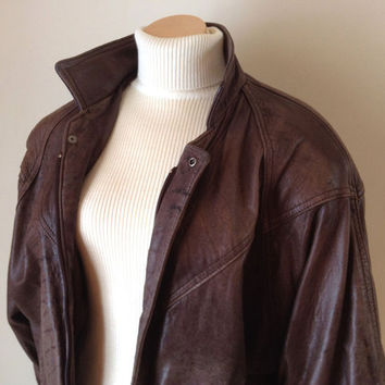 Distressed Leather Jacket, Ladies Brown Bomber Style Jacket, Size Medium, Vintage 1980s Distressed Leather Jacket Coat