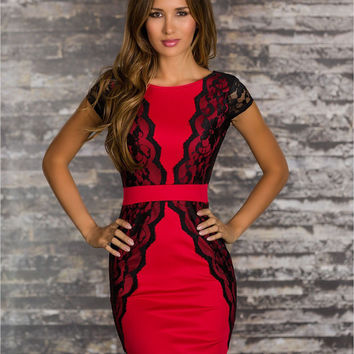 Red Floral Lace Cap Sleeve Bodycon Mini Dress