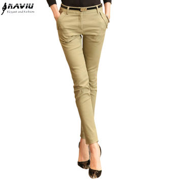 2015 Spring slim professional women western-style trousers gray black pants mid waist plus size formal Female Pencil Pants