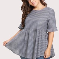 Pinstriped Tie Back Babydoll Blouse GREY