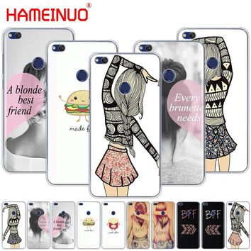 HAMEINUO Best Friends Emoji Cover phone Case for huawei Ascend P7 P8 P9 P10 P20 lite plus pro G9 G8 G7 2017