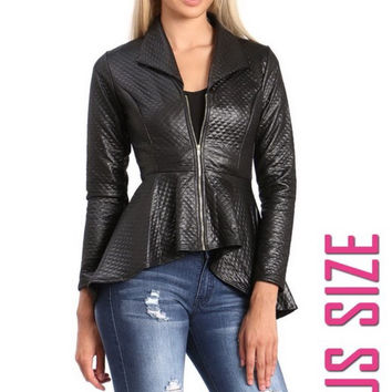 (A) PLUS SIZE QUILTED PU LEATHER JACKET