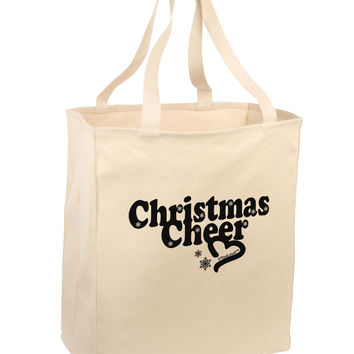 Christmas Cheer BnW Large Grocery Tote Bag