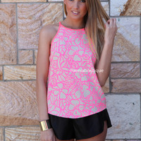 THE JULIA CLARE TOP , DRESSES, TOPS, BOTTOMS, JACKETS & JUMPERS, ACCESSORIES, 50% OFF SALE, PRE ORDER, NEW ARRIVALS, PLAYSUIT, COLOUR, GIFT VOUCHER,,Pink,Print,SLEEVELESS Australia, Queensland, Brisbane