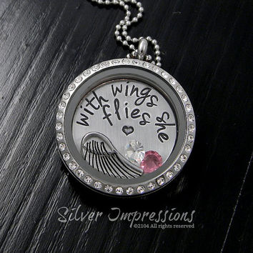 With wings she flies Necklace / Floating Locket / Remembrance Jewelry