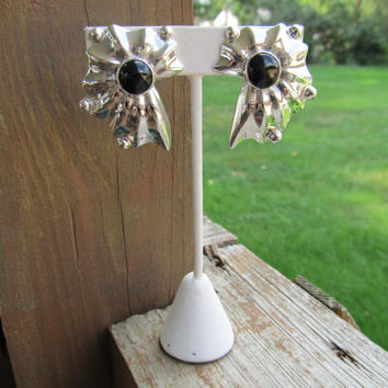 1980s-90s Onyx & Sterling Earrings